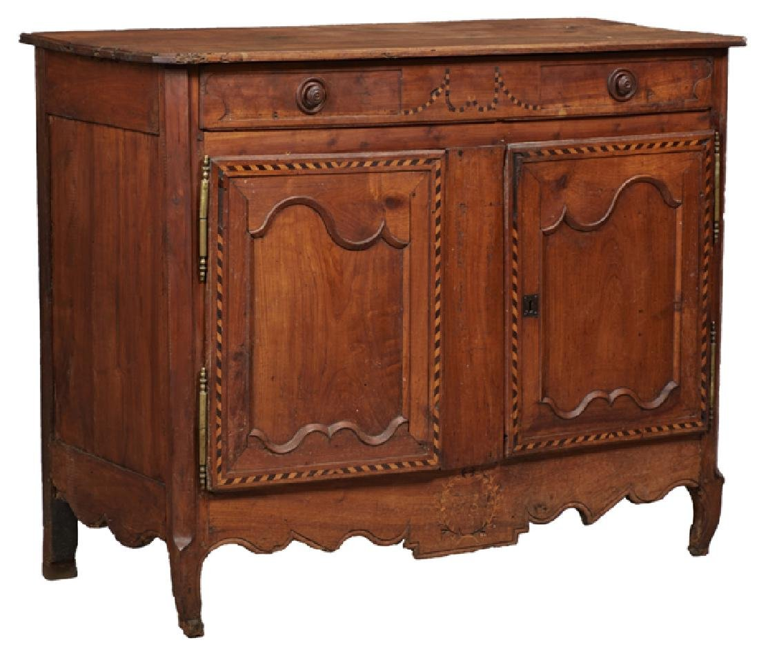 French Provincial Louis XV Style Inlaid Carved Cherry