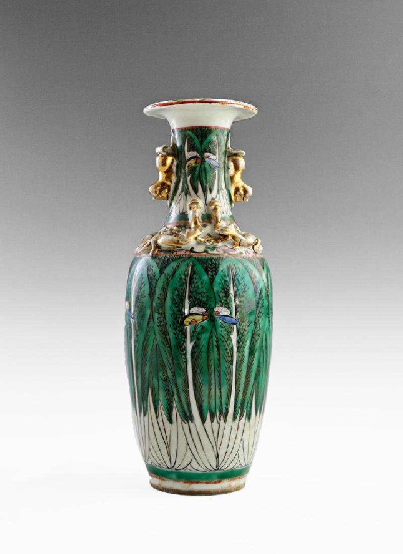 Chinese Famille Verte Baluster Vase, early 20th c.,