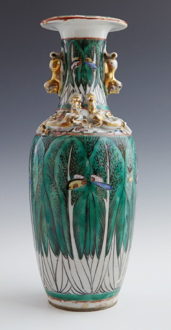Chinese Famille Verte Baluster Vase, early 20th c., - 2