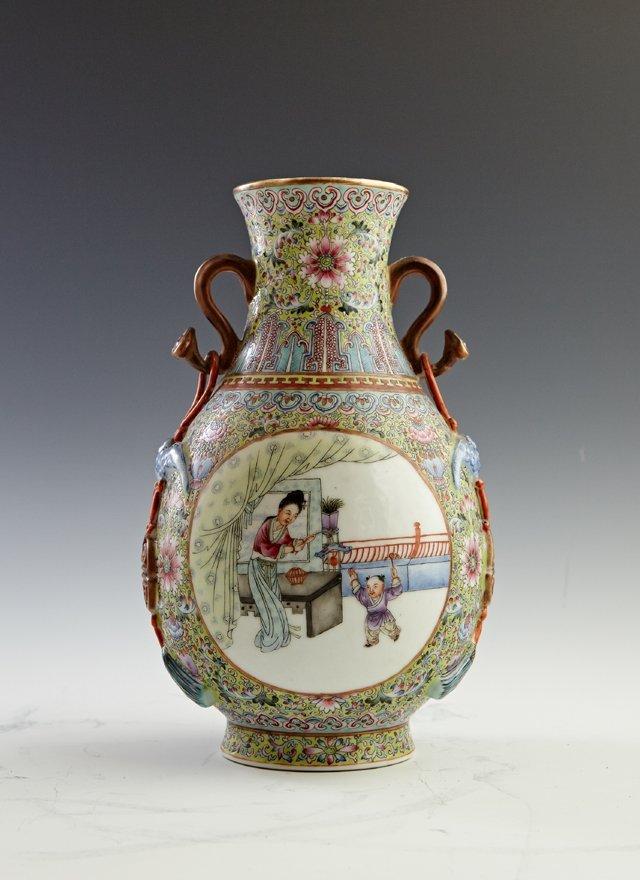 Chinese Porcelain Famille Rose Baluster Vase, 20th c.,