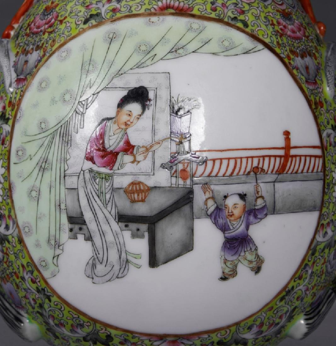 Chinese Porcelain Famille Rose Baluster Vase, 20th c., - 2