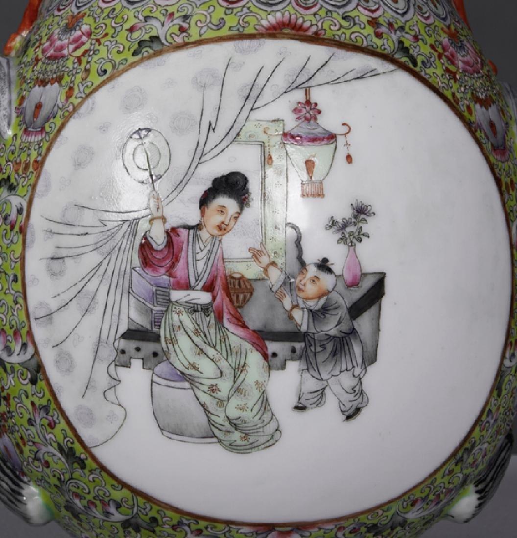 Chinese Porcelain Famille Rose Baluster Vase, 20th c., - 3