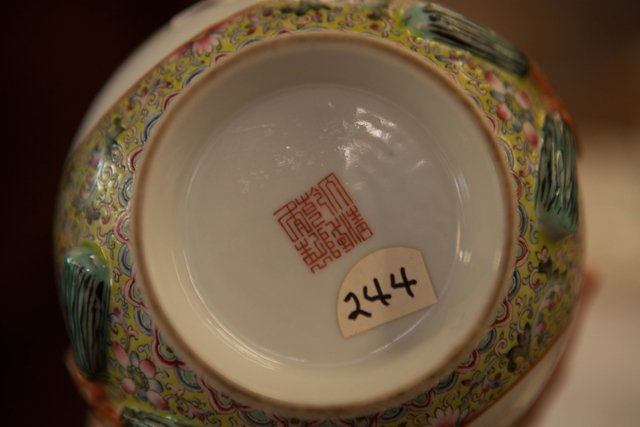 Chinese Porcelain Famille Rose Baluster Vase, 20th c., - 5