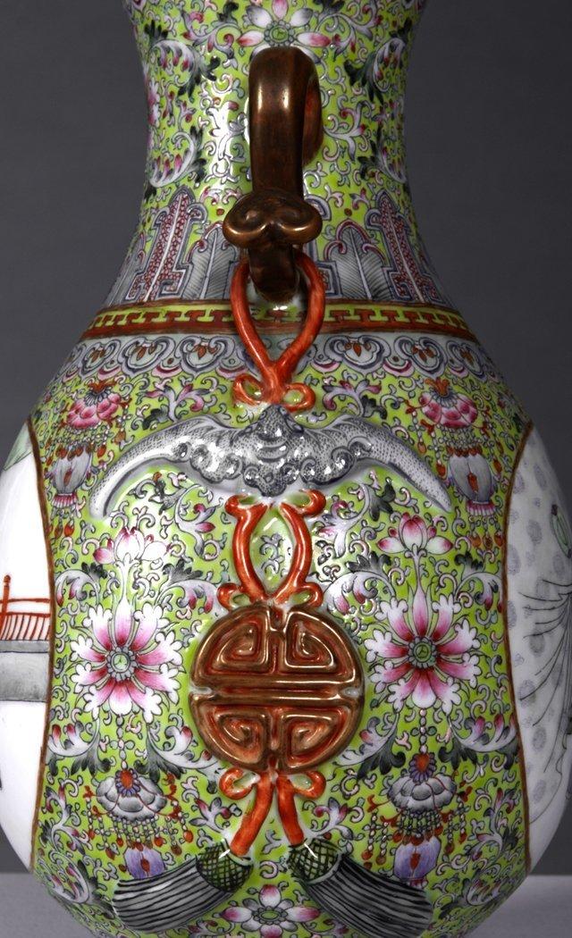 Chinese Porcelain Famille Rose Baluster Vase, 20th c., - 6