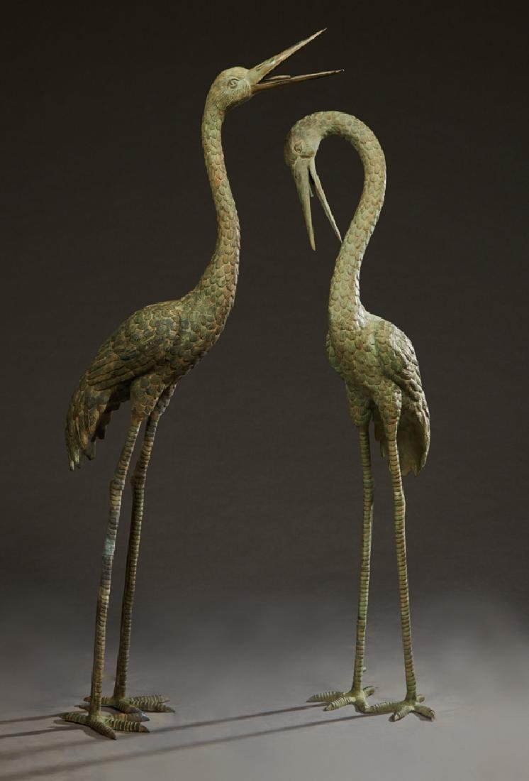 Pair of Patinated Bronze Crane Fountain Figures, 20th