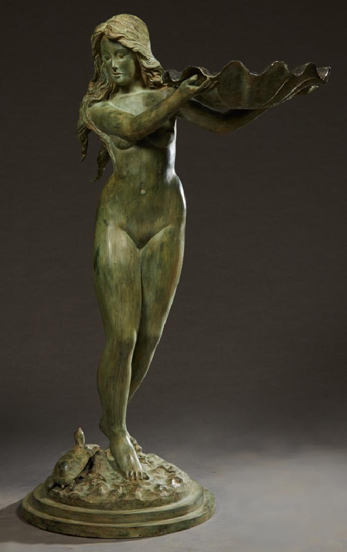 Patinated Bronze Fountain Figure, 20th c., in the form