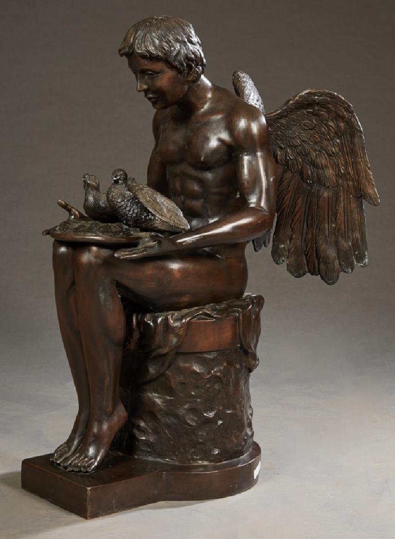 Patinated Bronze Fountain Figure, 20th c., of a seated