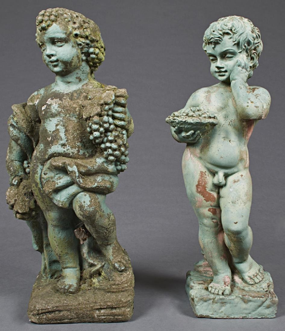 Pair of Cast Stone Figures of Putti, 20th c.,