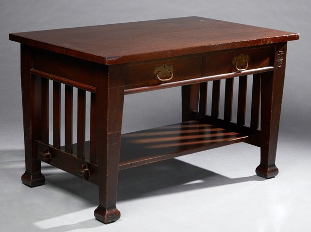 Roycroft Arts and Crafts Mahogany Mission Desk, early
