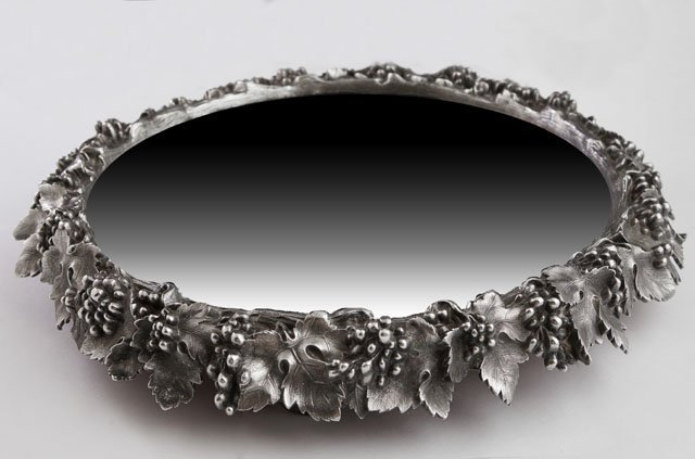 Silver Plated Circular Mirrored Plateau, early 20th c.,