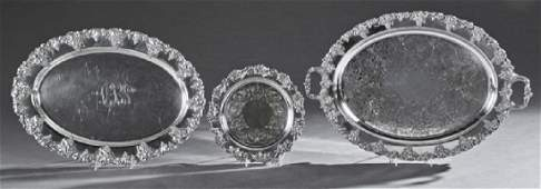 Group of Three Silverplated Serving Trays with relief