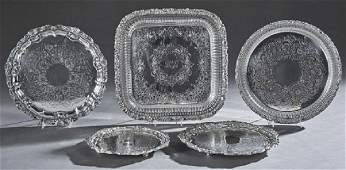 Group of Five Silverplated Serving Trays 20th c