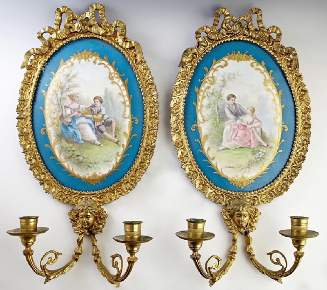 Pair of Gilt Bronze Mounted Painted Sevres Porcelain