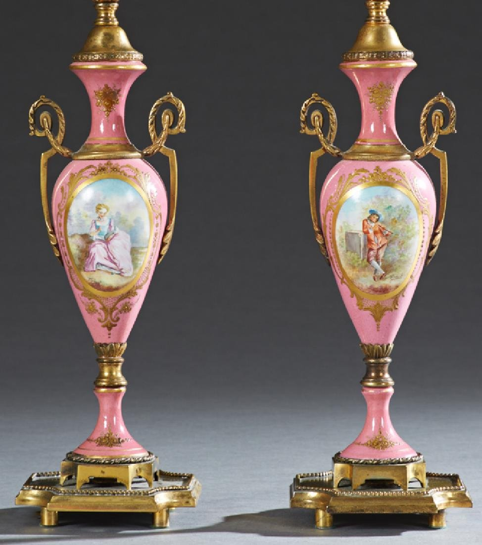 Pair of Bronze Mounted Sevres Style Bronze Ormolu