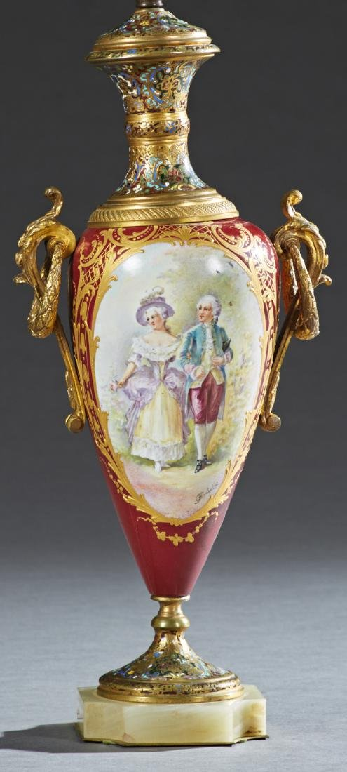 French Sevres Style Ormolu Mounted Porcelain and