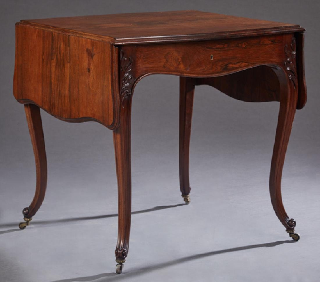 French Louis XV Style Carved Rosewood Demilune Drop Lea