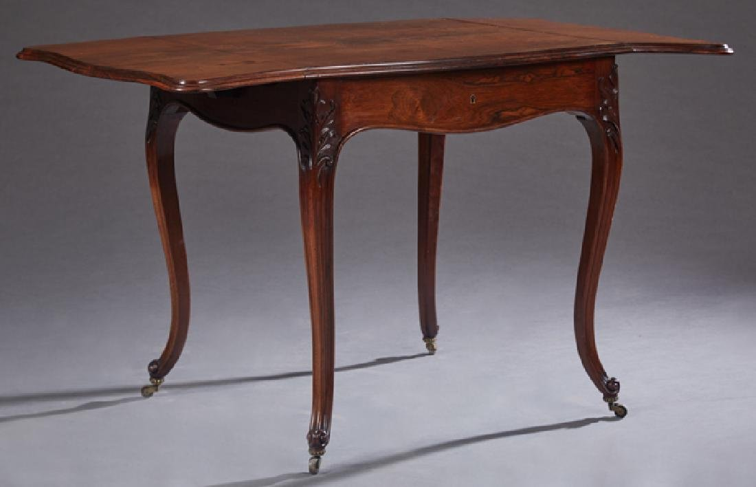 French Louis XV Style Carved Rosewood Demilune Drop Lea - 2