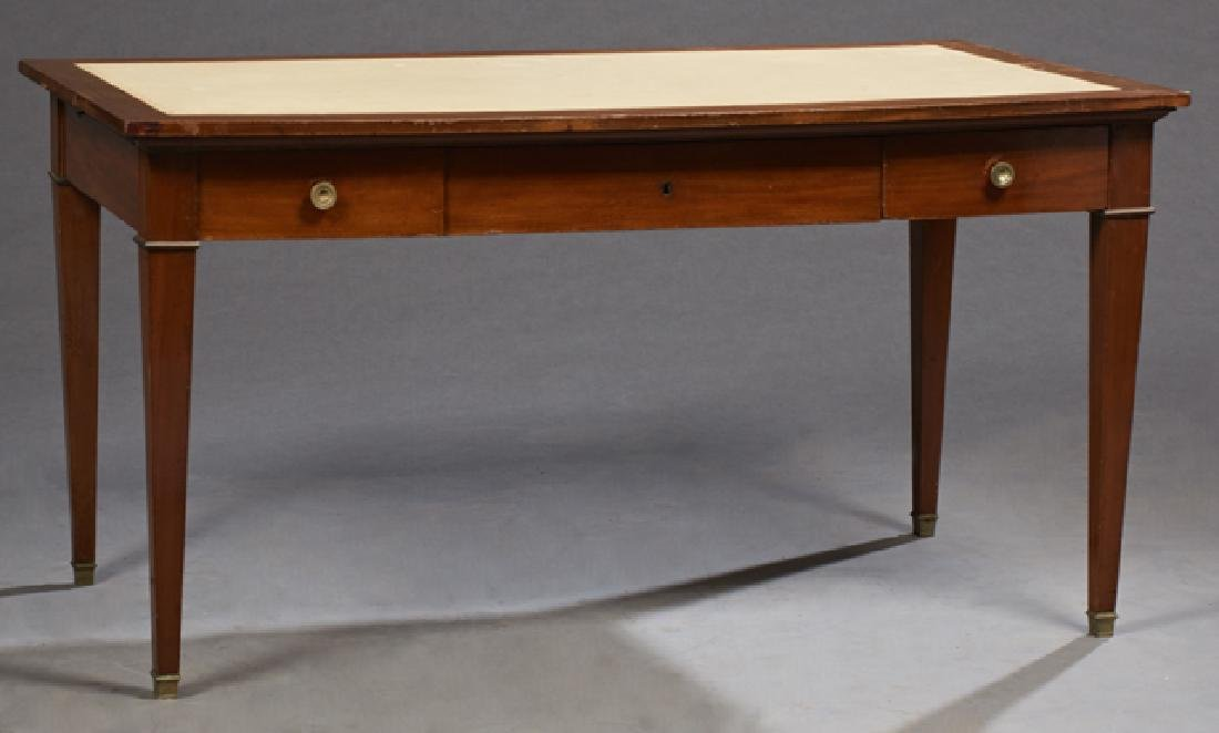 French Louis XVI Style Carved Mahogany Writing Table,