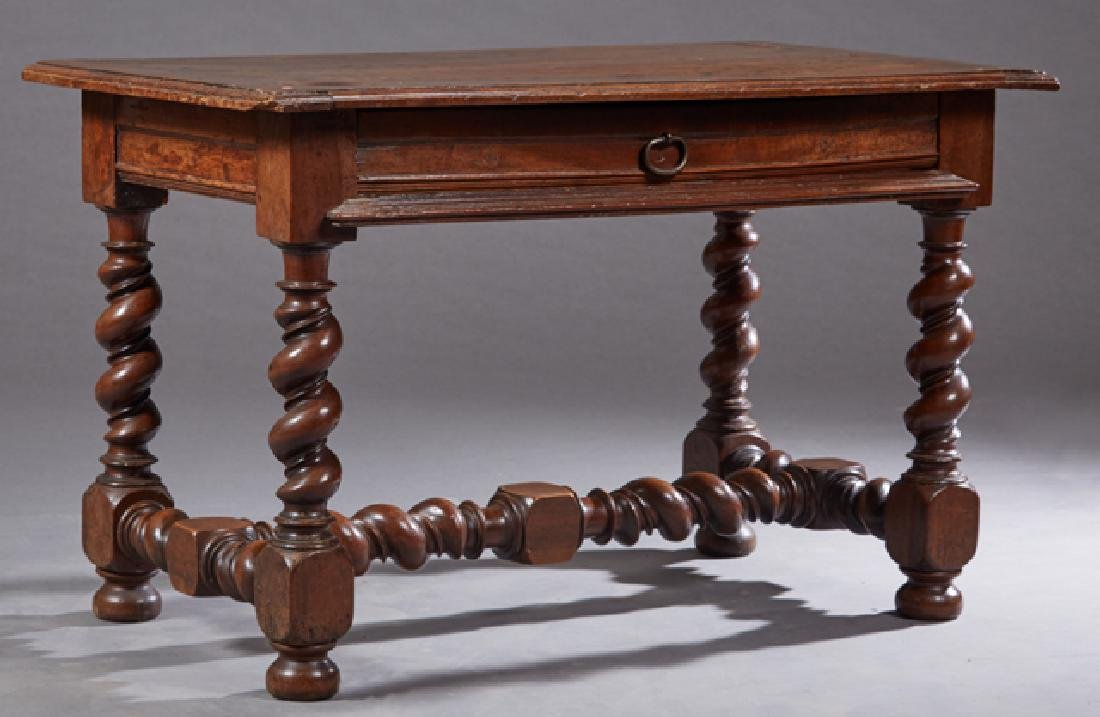 French Provincial Carved Walnut Writing Table, 18th c.,
