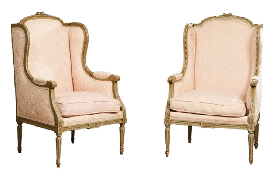 Pair of Louis XVI Style Polychromed Bergere Wing