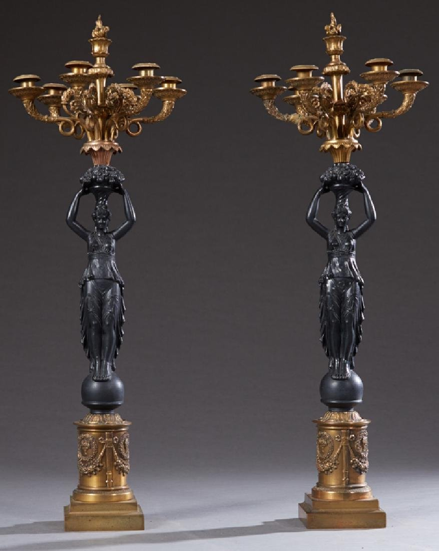 Pair of French Empire Style Gilt and Patinated Spelter
