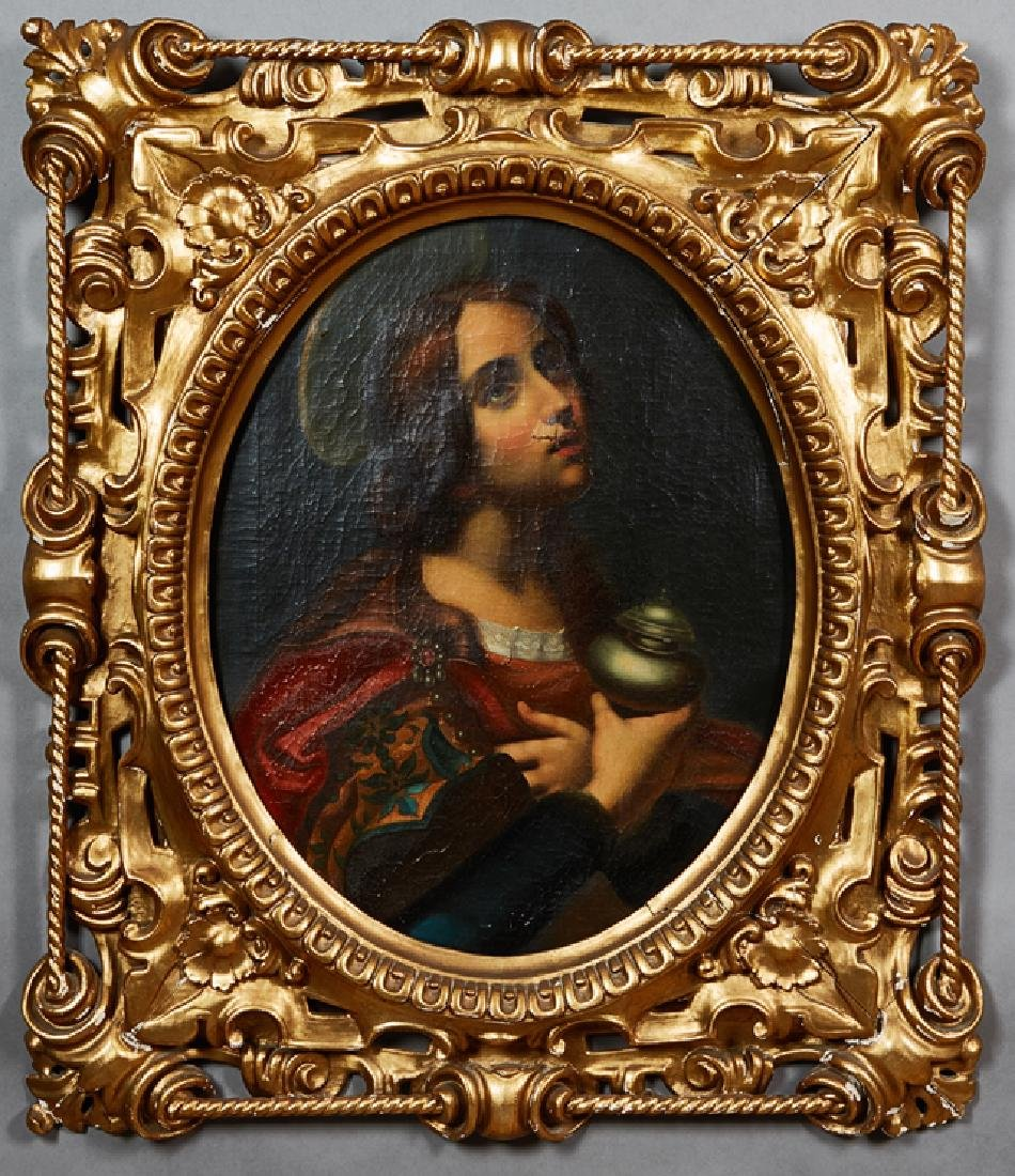 """English School, """"Portrait of a Saint Holding a Covered"""