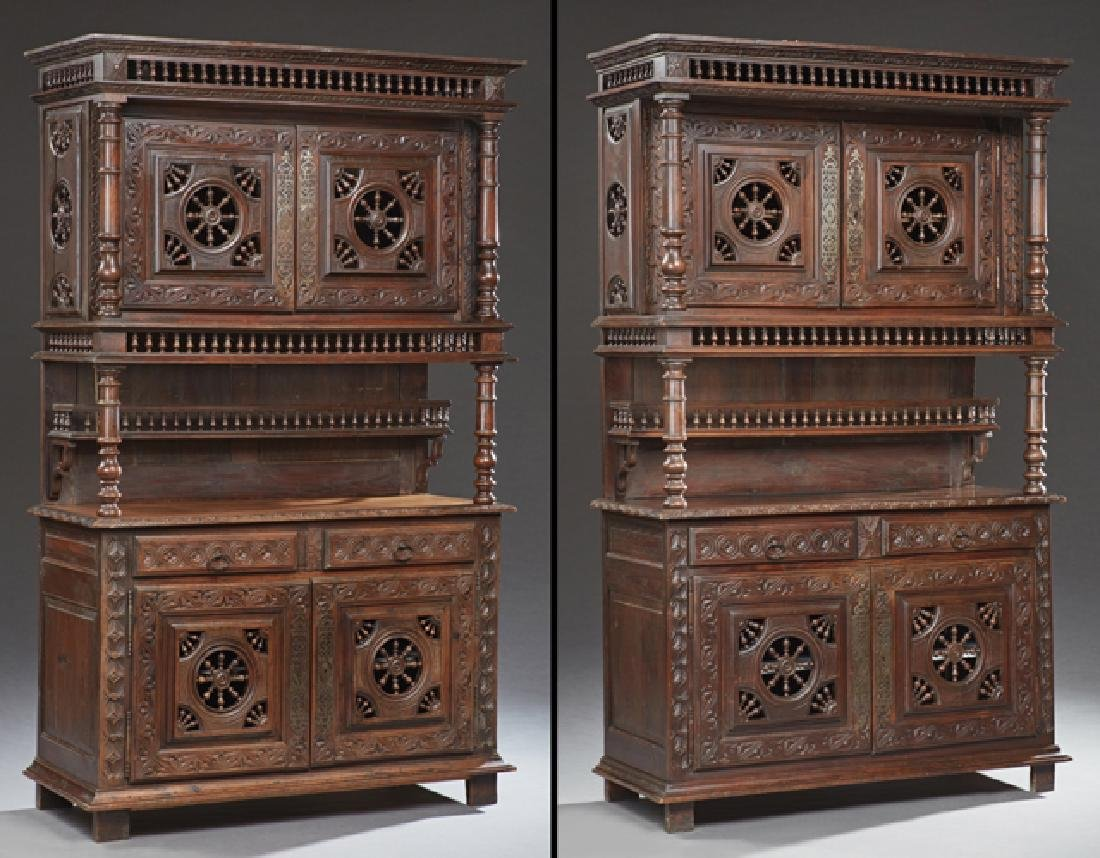 Rare Pair of French Provincial Carved Oak Buffets a