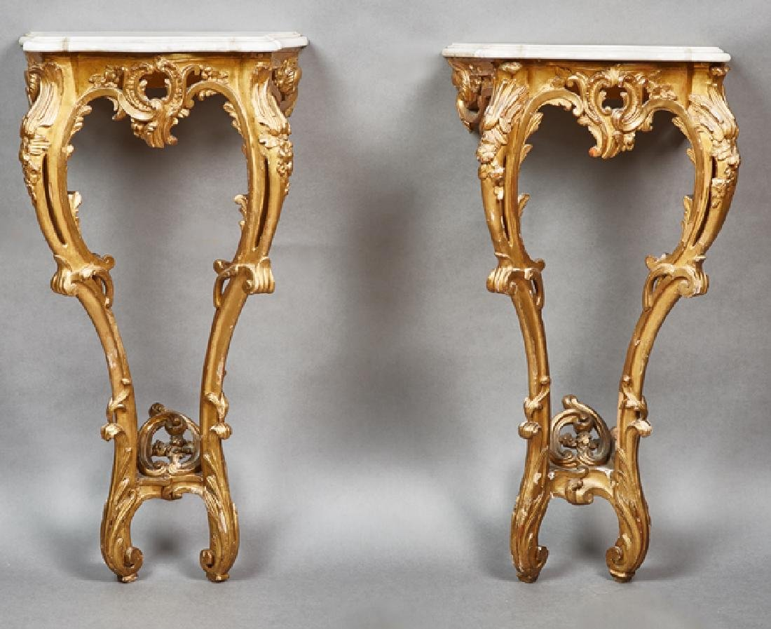 Pair of French Louis XV Style Gilt Marble Top Console