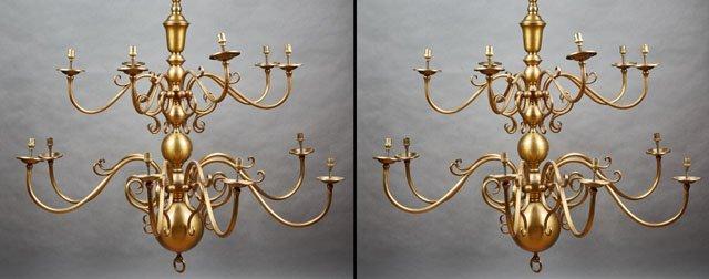 Pair of Large Brass Dutch Baroque Style Fourteen Light
