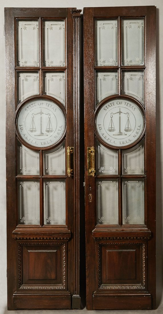 Pair of Custom Made Wood Double Doors, 20th c., each