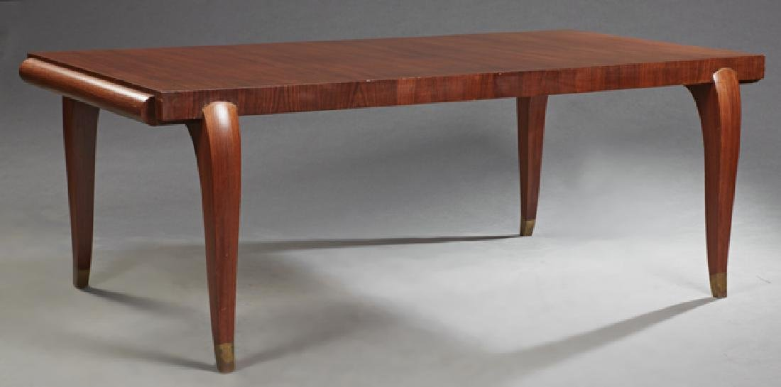 French Art Deco Carved Kingwood Dining Table, c. 1930,