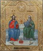 Russian Icon of Jesus and a Saint 19th c oil and