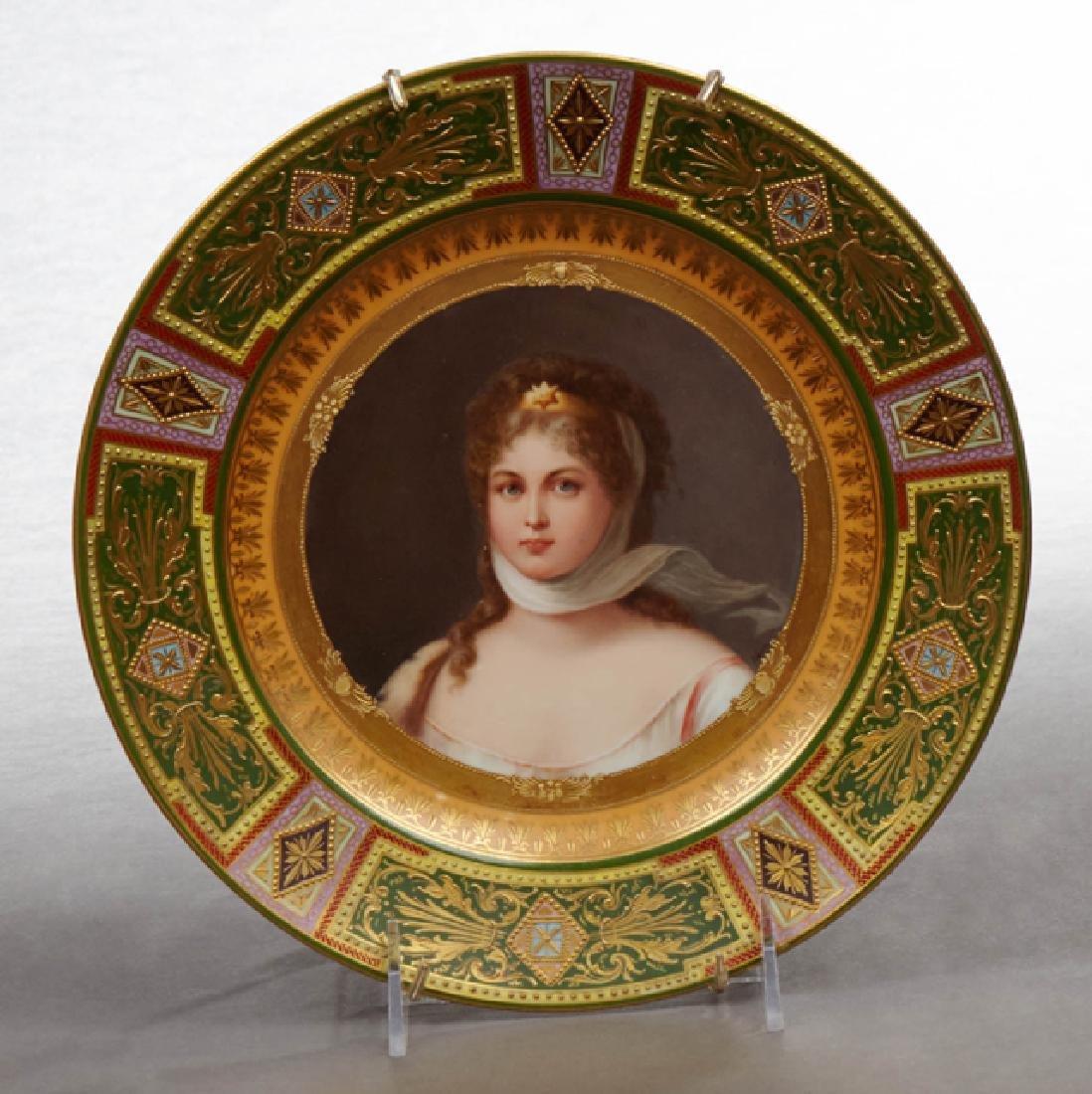 Royal Vienna Porcelain Portrait Plate, 19th c., of