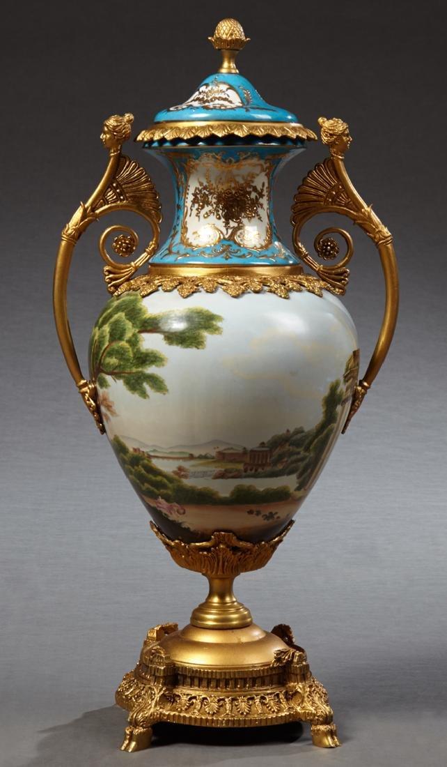 Sevres Style Bronze Mounted Porcelain Baluster Urn,