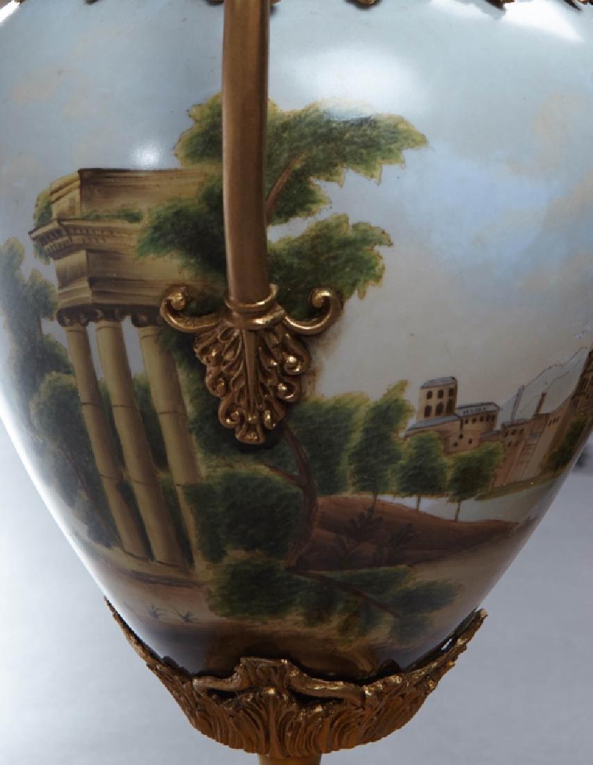 Sevres Style Bronze Mounted Porcelain Baluster Urn, - 2