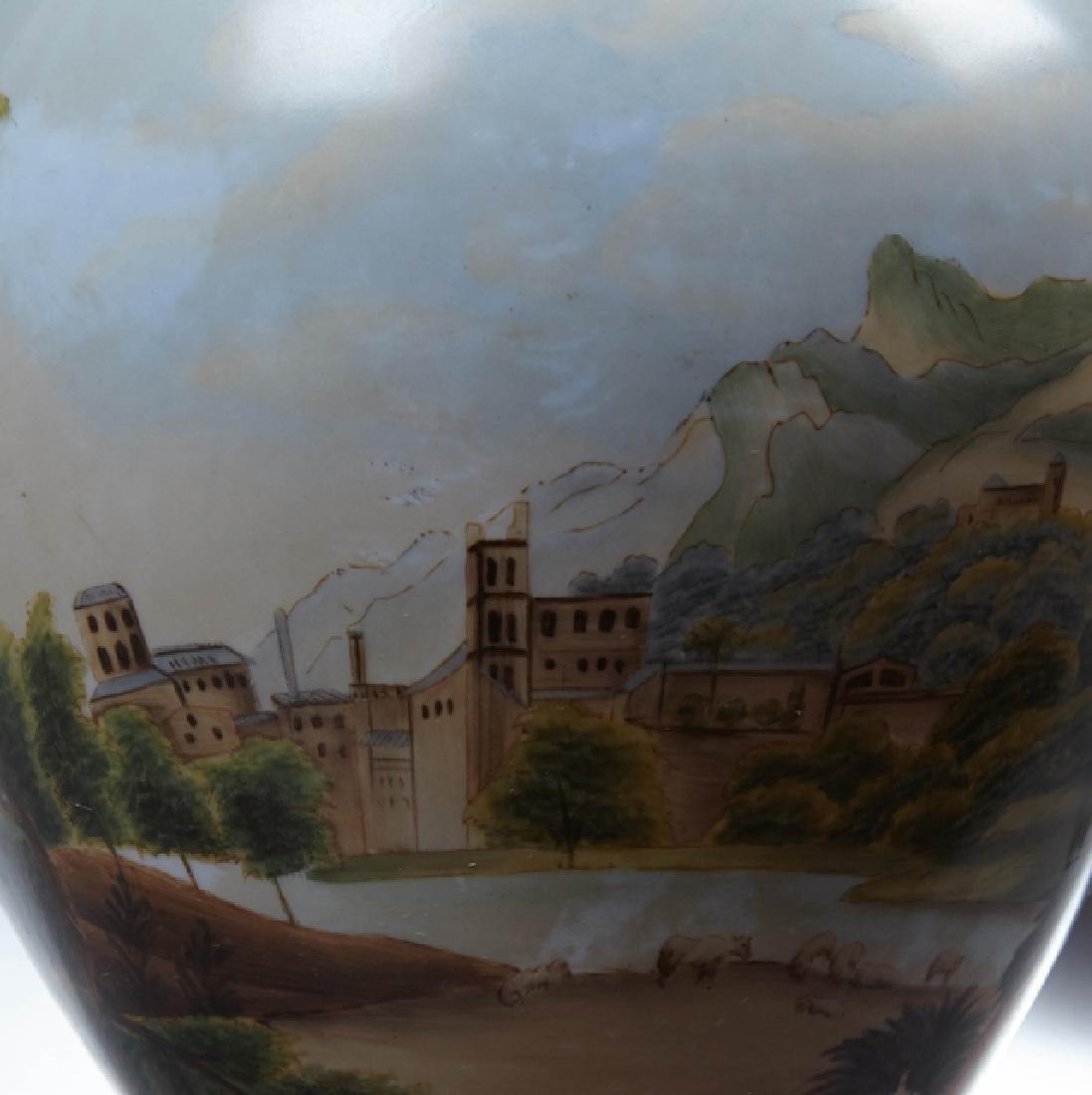 Sevres Style Bronze Mounted Porcelain Baluster Urn, - 4