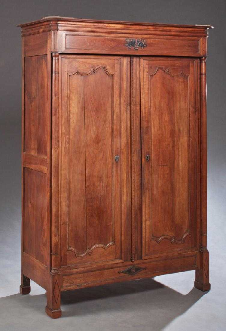French Louis Philippe Style Carved Walnut Armoire, 19th