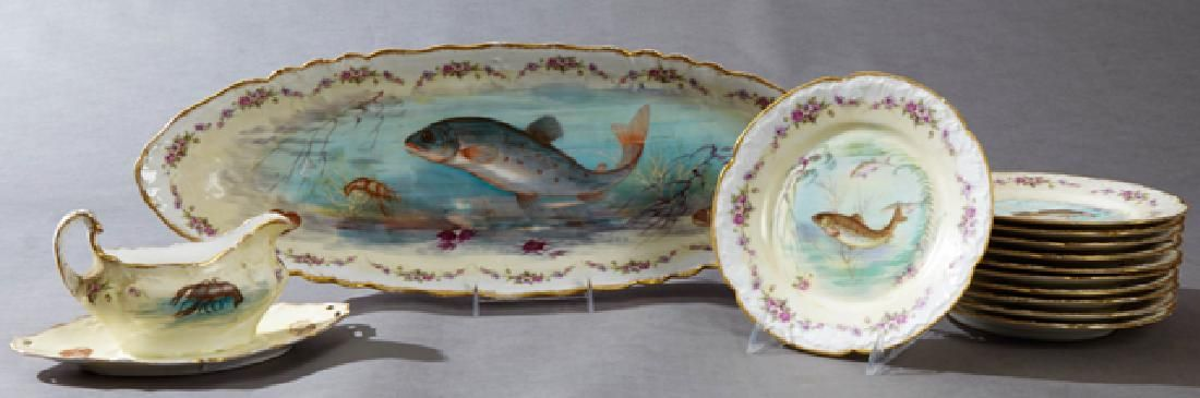 Thirteen Piece French Limoges Porcelain Fish Set, early
