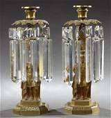 Pair of Gilt Bronze Figural Girandoles, 19th c., the