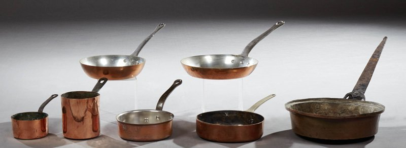 Group of Seven Pieces of French Copper Cookware, early