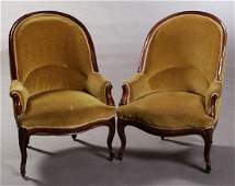 Pair of French Louis XV Style Bergeres, late 19th c.,