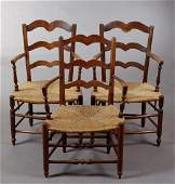 Group of Three French Provincial Carved Walnut Rushseat