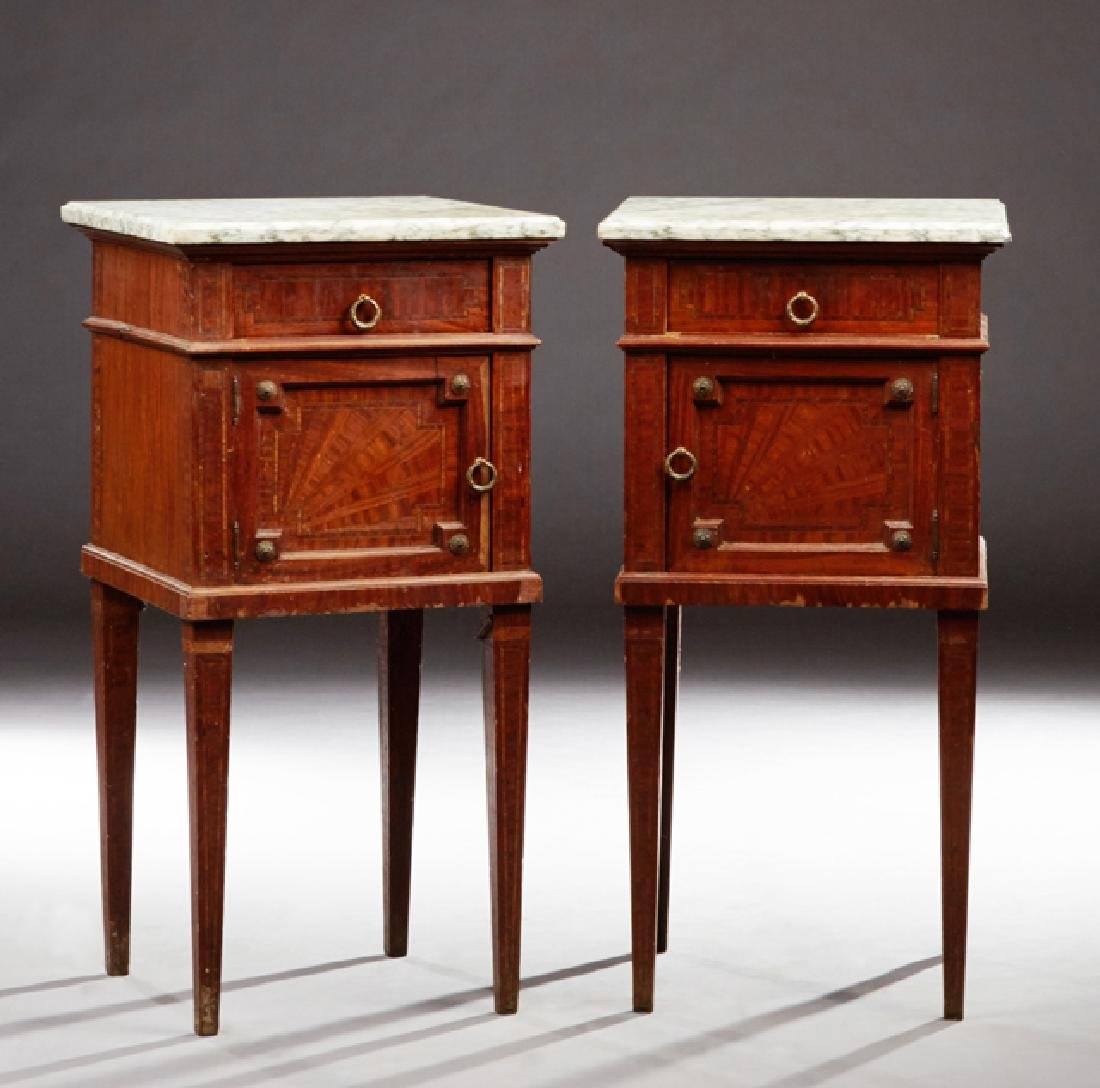 Pair of French Inlaid Mahogany Marble Top Nightstands,