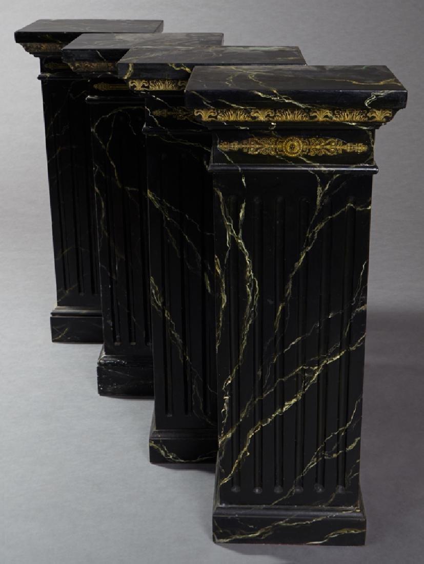 Set of Four Ebonized Faux Marble Rectangular Pedestals,