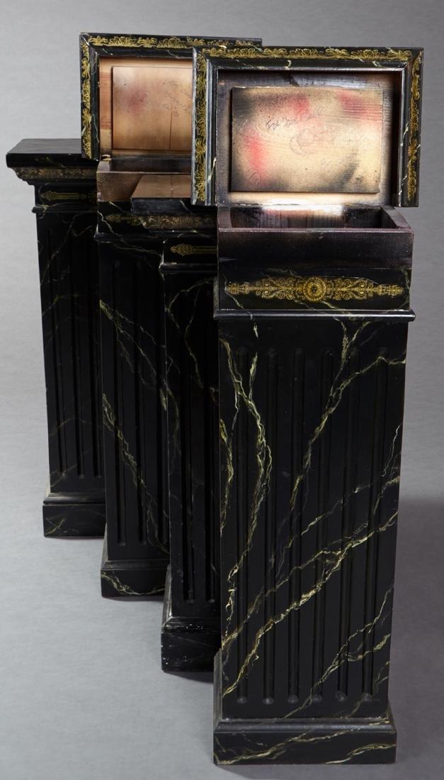 Set of Four Ebonized Faux Marble Rectangular Pedestals, - 2
