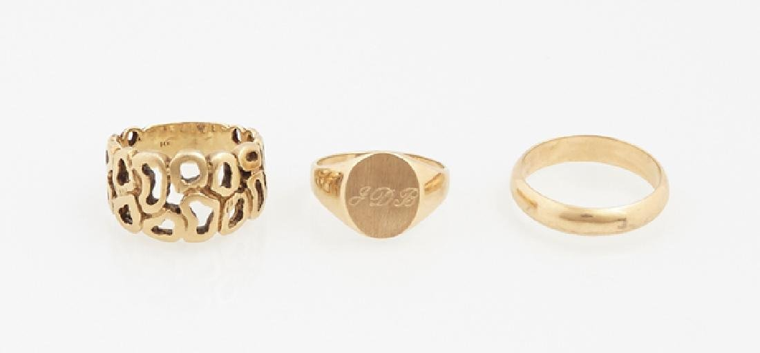 Group of Three Yellow Gold Rings, consisting of a 14K