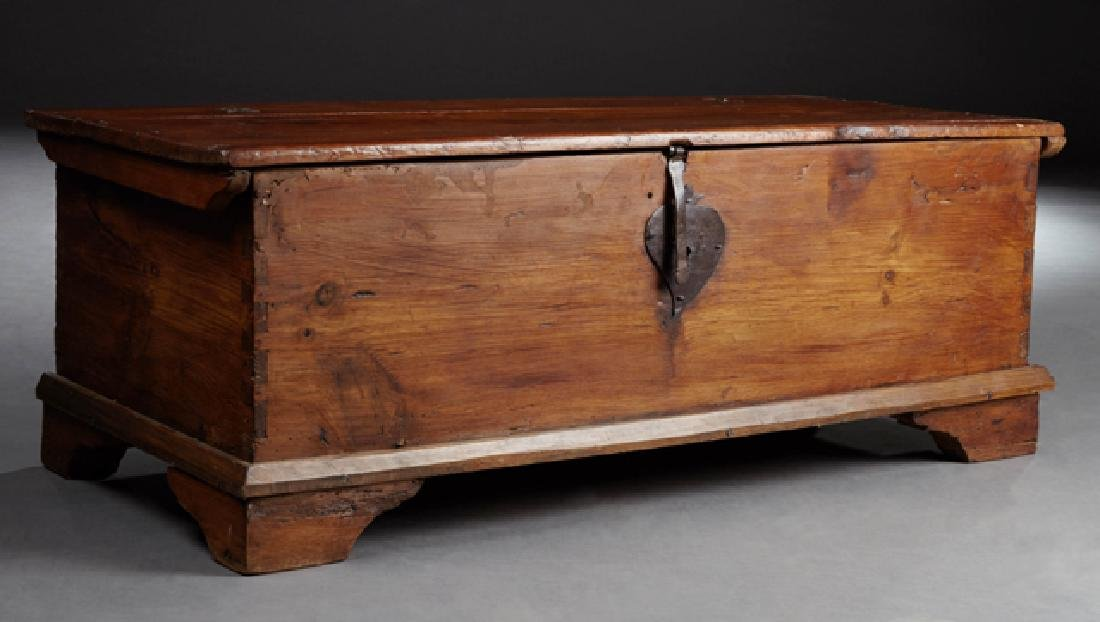 Carved Pine Coffer, c. 1780, the rectangular plank top