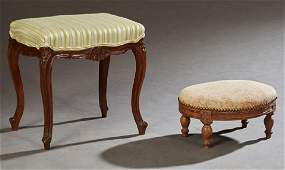 Two French Upholstered Footstools, early 20th c., one