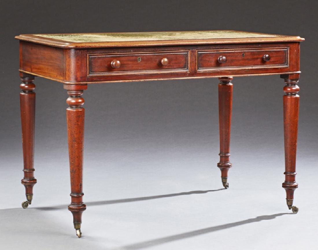 English Victorian Carved Mahogany Writing Desk, 19th