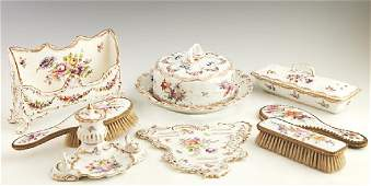 Eight Pieces of German Porcelain  early 20th c with